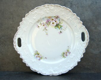 Antique Shabby Chic China Handled Plate, Purple Lavender Flowers, Tea Party, Bridal Shower, White Cottage Decor, Cookies Dessert