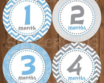 Monthly Baby Boy Stickers Baby Month Stickers Blue Grey Chevron Dots Bodysuit Stickers Monthly Baby Age Stickers Nursery Decor Photo Prop
