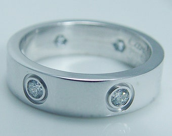 18K White Gold Cartier Love Ring Six 6 .30ct Diamonds Ring Band Size 7.75