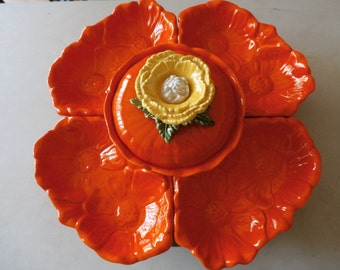 Beautiful Vintage California Pottery Chip & Dip Sunflower and Pumpkin Lazy Susan Set