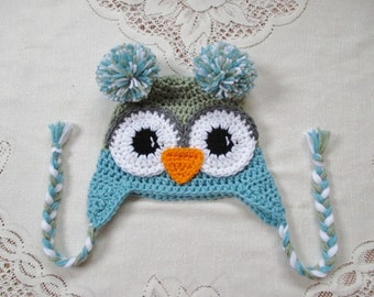 Aqua and Sage Green Crochet Owl Hat - Photo Prop - Available in Any Size or Color Combination