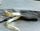 Sterling Silver and 14K Solid Gold Snake Ring. Fits SIZE 5 to 6. Slightly Adjustable