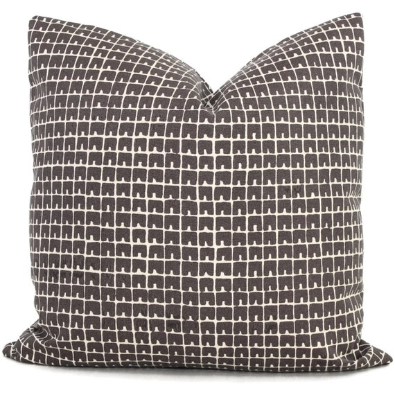 Queen Throw Pillows : Quadrille Brown Fez Outdoor Pillow Cover Lumbar pillow Toss