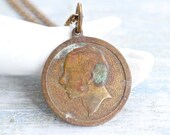 Mysterious Profiled Man  Antique Brass Medallion Necklace