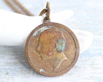 Mysterious Profiled Man - Antique Brass Medallion Necklace