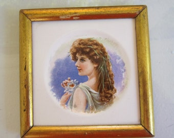Framed Ceramic Tile Woman with flowers