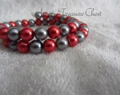 Red and Grey Pearl Beaded Memory Wire Coil Bracelet