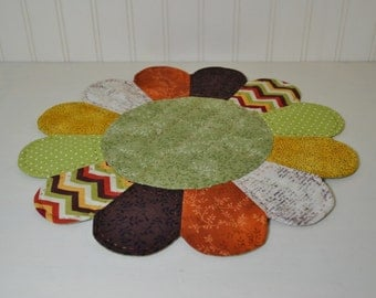 Fall Colors Dresden Plate Table Topper, Hand Quilted Table Mat, Autumn Large Candle Mat, Chevron Polka Dot, Rustic Home Decor, Green Leaves