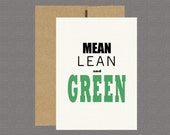 Military Greeting Card - Mean Lean and Green - Care Package, Boot Camp, Basic Training, Deployment, Military Card