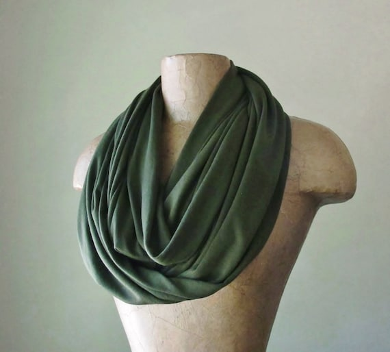 OLIVE GREEN Infinity Scarf - Forest Green Jersey Tube Scarf - Lightweight Circle Scarf