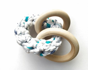 White Patterned Fabric Yarn Crochet Maple Wood Triple Teether / Teething Ring Toy / Rattle