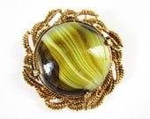 Vintage Chunky Green Glass Agate Brooch Pendant Florenza Style