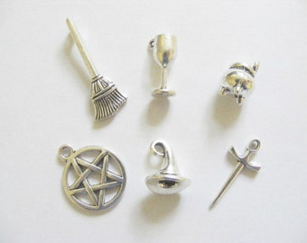 6 Metal Antique Silver Wicca/Pagan/Witch Charms