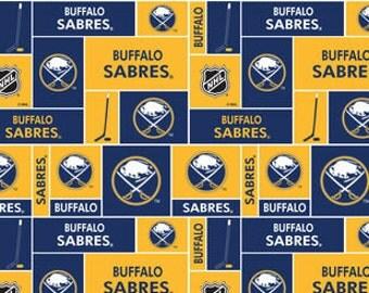 Personalized Buffalo Sabres Hockey Fleece and Minky Baby Blanket