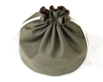 Army Green Denim & Chocolate Brown Bucket Bag Summer Small Tote Upcycled Jeans Kids Travel Bag - US Shipping Included