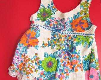 Baby doll swimsuit circa 1970's girls size 12 sweet floral blue pink white girly bathing suit
