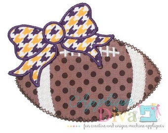 Fall Girl Football with Big Bow Embroidery Design Machine Applique