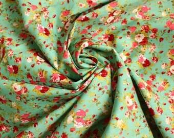 Green blue floral quilting cotton, craft cotton, Green blue flower fabric, UK shop