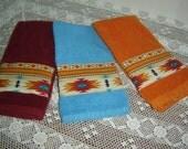Burgundy, orange or turquoise/aqua hand/dish towel w/panel of Aztec tribal fabric, Southwestern decor, yellows, cotton terry, hostess gift
