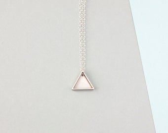 Mini Two Triangle Metal Necklace (White)