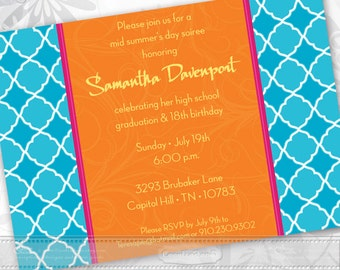 bridal shower invitations, turquoise bridal shower invitations, tangerine tango bridal shower, bachelorette party invitations, IN184