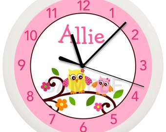Personalized Mod Owl 10 inch Nursery Wall Clock