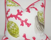 OUTDOOR Pink & Green Coral Shell Pillow Cushion Covers Beach Indoor/Outdoor Pink Piping 18x18