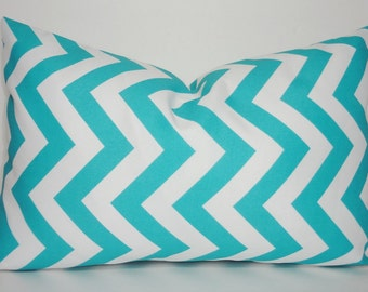 SALE !! OUTDOOR Pillow Aqua Blue & White Chevron Zig Zag Outdoor Deck Porch Size 12x18