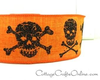 """Halloween Wired Ribbon, 2 1/2""""  Skeleton Skulls Webs on Orange Heather Linen - TEN YARD ROLL - d. stevens """"Cross Bones"""" Wire Edged Ribbon"""