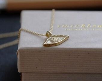 OOAK Eye necklace solid 14k gold