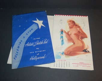 1952 Pin Up Calendar Ted Withers Full Year 12 Months Nude Girls Follow A Star Artist's Sketch Pad Ted Withers of Hollywood with Sleeve
