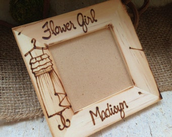 Flower Girl Picture Frame Wedding Party Gift with HER Dress and Name Hand Drawn and Hand Engraved