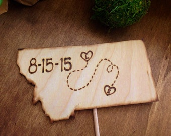 Wedding Cake Topper Single State with Hearts in your Hometowns Carved Initials
