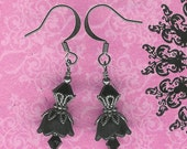 Black Lucite Flower, Make Your Own Earrings Kit, DIY Earring, Do It Yourself, Bead Kit, Beginner Kit, Beaders Gift, Jewelry Maker Kit
