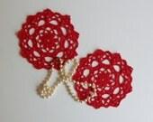 "Mini Crochet Doily Pair - Red - Lacy Small Mini 6"" - Set of 2"