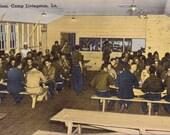 Camp Livingston, Louisiana, At Mess - Linen Postcard - Unused (J1)