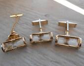 Vintage Hour Glass Cufflinks & Tie Clip. Gold. Christmas, Wedding, Men's, Groomsmen Gift, Dad. Swank
