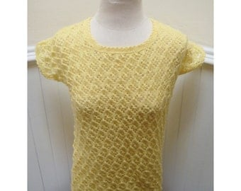 Vintage 1970s Yellow Knit Short-Sleeved Sweater- M/L
