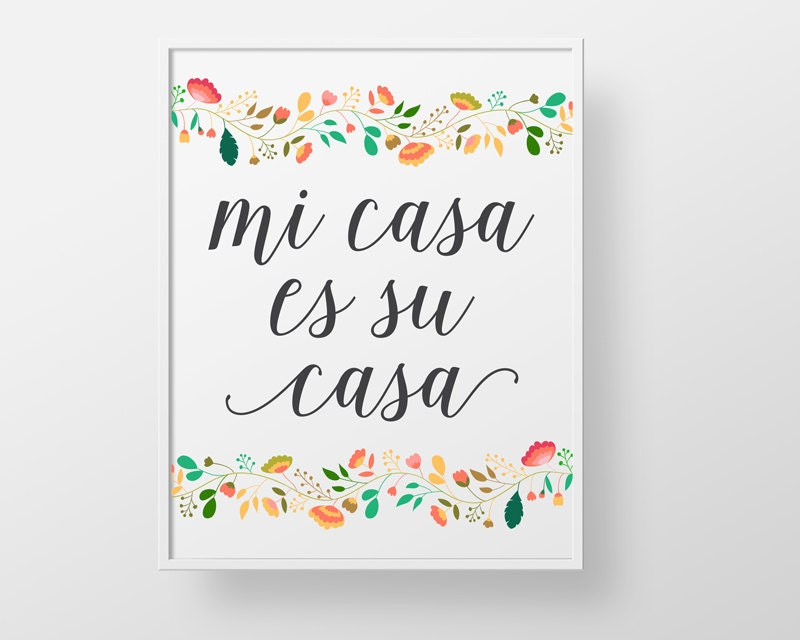 mi casa es su casa print wall decor art spanish colorful. Black Bedroom Furniture Sets. Home Design Ideas