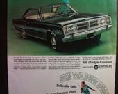 Vintage Magazine Original Promo Ad 1960's 1966' Dodge - Coronet 500 - Great for Framing