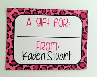 Personalized Pink Leopard Gift Wrapping Tags, Happy Birthday Tags, Kids Gift Tags, Gift Wrapping Labels, Custom Gift Tags, Set of 12