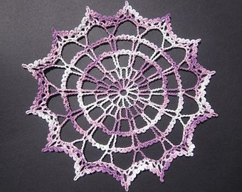 New Handmade Cotton Cloth Purple/White Doily