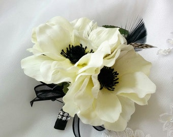 Wedding Silk Ivory Anemones Corsage accented with Black Feathers and Guinea Feathers- Silk wedding Corsage