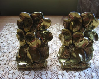 Brass Floral Bookends