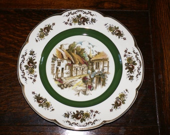 WOOD and SONS ASCOT Service Plate, English Village Scene Charger