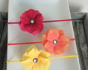 Bright Pink, Coral and Yellow Petal Flower Elastic Baby/Toddler Girl Headband Set YOU CHOOSE SIZE (set of 3)