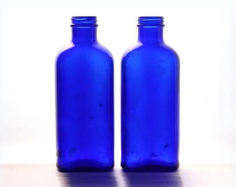 Cobalt medicine bottles, blue glass bottle, vintage bottles, Hazel-Atlas glass