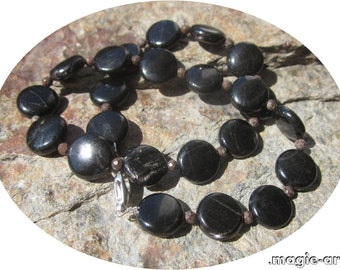 Hypersthene and brown Snowflake Obsidian Necklace: progress and courage