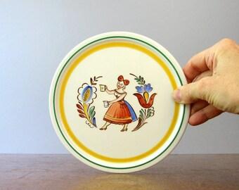 Mid Century Arabia Finland Folk Art Wall Plaque / Plate / Trivet