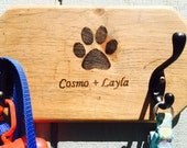 Personalized, Double Hook Dog Leash Holder
